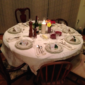 Thanksgiving setting and place cards by our granddaughter
